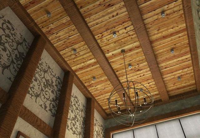 Потолок из имитации бруса своими руками 97