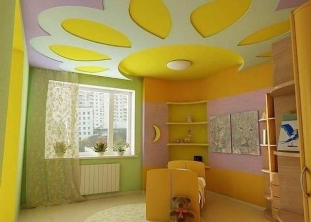 фото гипсокартона потолка для детской дизайн из