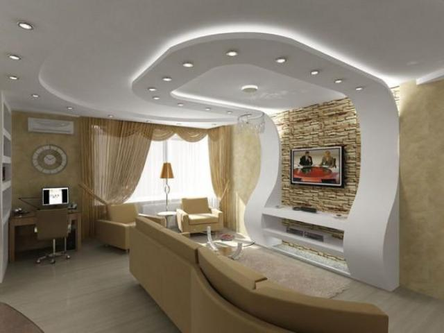 Дизайн потолка из гипсокартона - фото различных вариантов