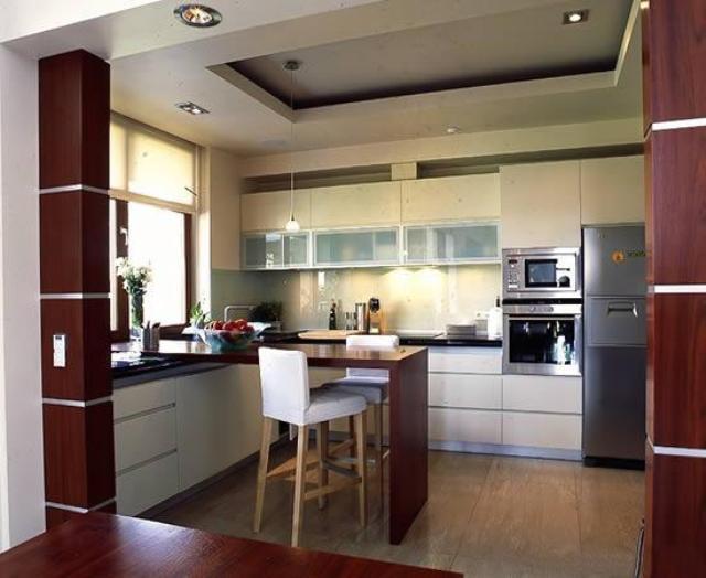 Дизайн кухни потолок из гипсокартона фото