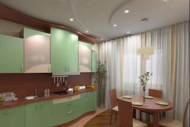 варианты потолков из гипсокартона фото на кухне
