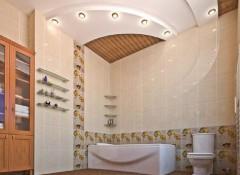 Варианты дизайна, преимущества и недостатки потолка из гипсокартона в ванной
