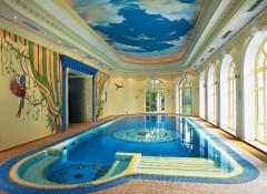 Варианты дизайна натяжных потолков в бассейне