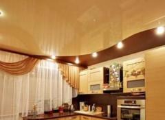 Применение в оформлении кухни комбинированных потолков