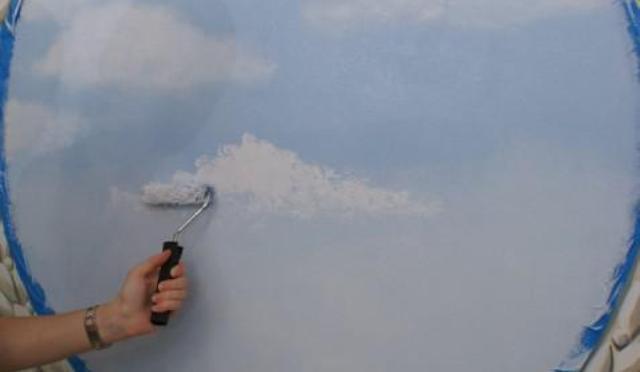 На потолке нарисовать небо своими руками 448