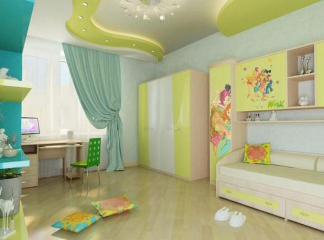 Дизайн потолка в детской комнате фото