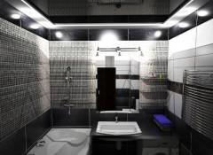 Варианты применения глянцевого черного потолка с подсветкой