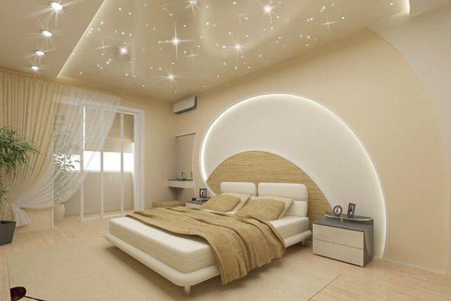 потолок натяжной в спальню фото