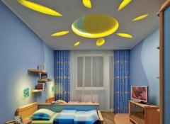 Варианты оформления потолков из гипсокартона в детской спальне