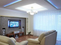Преимущества и варианты оформления гипсокартонного потолка в зале