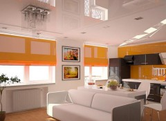 Использование при оформлении однокомнатной квартиры и квартиры-студии натяжных потолков