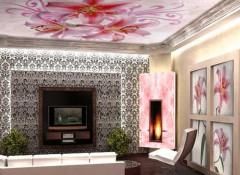 Различные варианты применения в гостиной натяжных потолков с рисунком