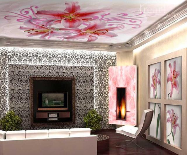 натяжные потолки с рисунком для зала с фото