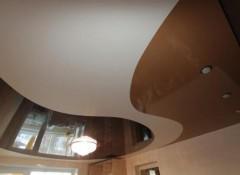 Декор потолка в зале — одноуровневые натяжные потолки