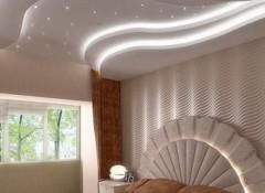 Варианты оформления натяжного потолка с подсветкой в спальне