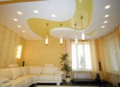 Применение в оформлении гостиной многоуровневых натяжных потолков