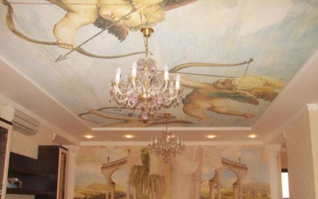 матовые натяжные потолки с рисунком фото