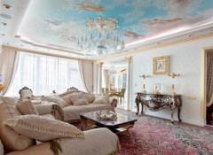 Варианты применения в гостиной потолков с фотопечатью