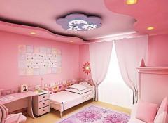 Варианты оформления потолка в детской для девочки