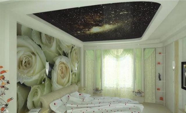 фото натяжные потолки с рисунком для спальни