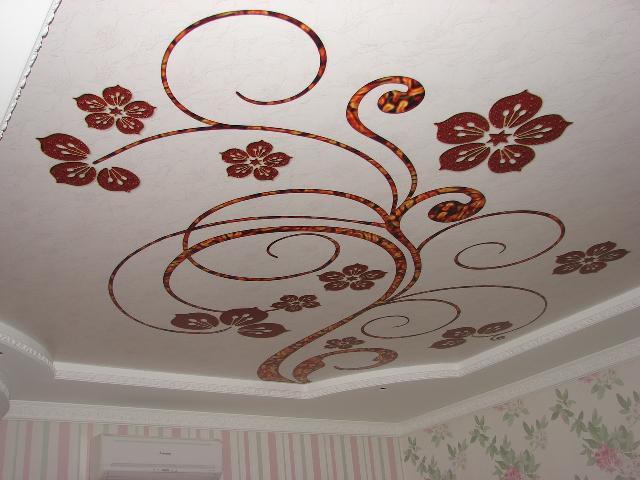 потолки натяжные матовые фото с рисунком