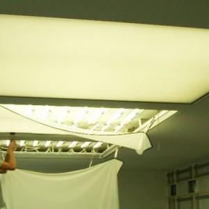 Освещение через натяжной потолок