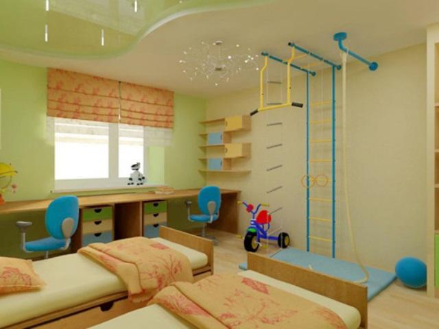 освещение в детской комнате фото натяжной потолок