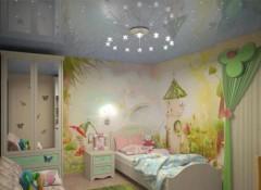 Детская комната с  натяжным потолком — особенности освещения