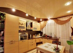 Особенности освещения на кухне с натяжными потолками