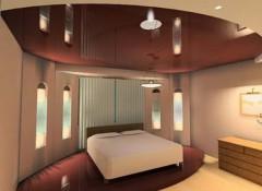 Варианты применения темно-коричневых потолков
