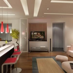 Гостиная совмещенная с кухней — какой потолок выбрать?