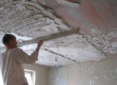 Порядок выполнения работ при оштукатуривании потолка