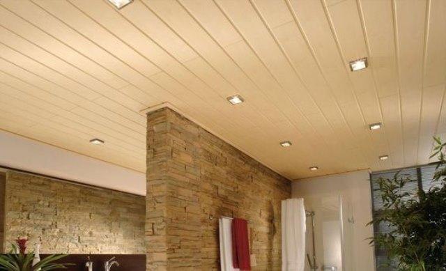 потолки из пластиковых панелей в зале фото