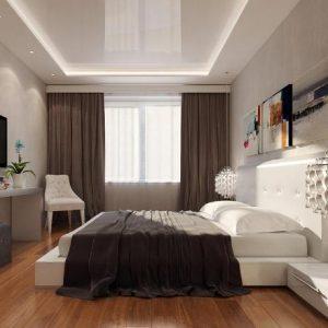 Особенности и варианты оформления в современном стиле потолка в спальне