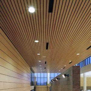 Виды и примеры деревянных потолков в офисе