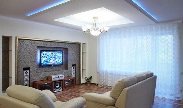 Как сделать красивым потолок в зале фото