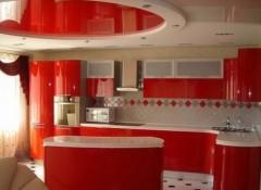 Натяжные потолки на кухне — красивые решения