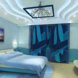 Потолки из гипсокартона в спальне — красивые решения