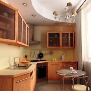 Потолки в маленькой кухне из гипсокартона