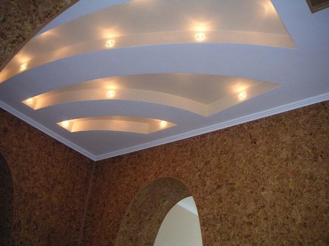 Как собирают потолки из гипрока с подсветкой?
