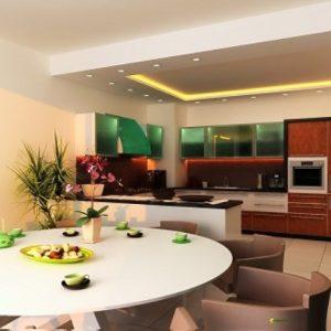 Особенности зонирования потолка кухни-гостиной