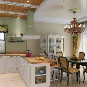 Преимущества и недостатки применения натяжных потолков в кухне гостиной