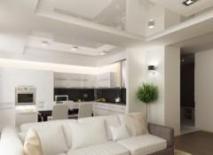 Преимущества и особенности применения натяжных потолков в объединенной кухне с гостиной