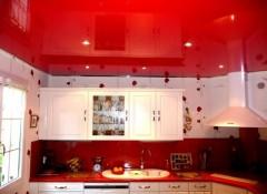 Особенности и варианты применения красных натяжных потолков на кухне