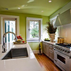 Преимущества и особенности применения на кухне зеленых натяжных потолков