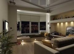 Использование в комнатах с эркером натяжных потолков