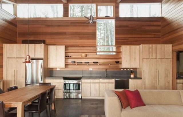 отделка кухни в квартире деревом фото