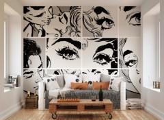 Варианты нанесения черно белых рисунков на стену