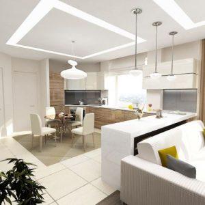Особенности создания и зонирование потолка в гостиной-столовой