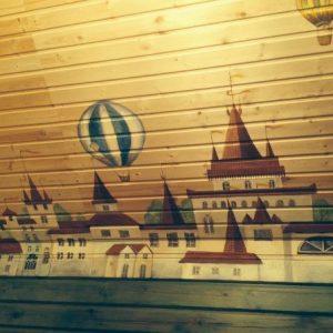 Различные варианты росписи стены из вагонки